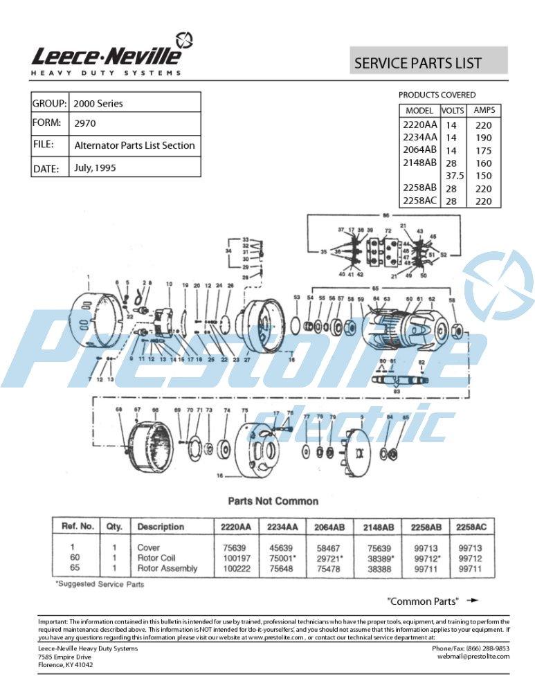 2200 series parts list