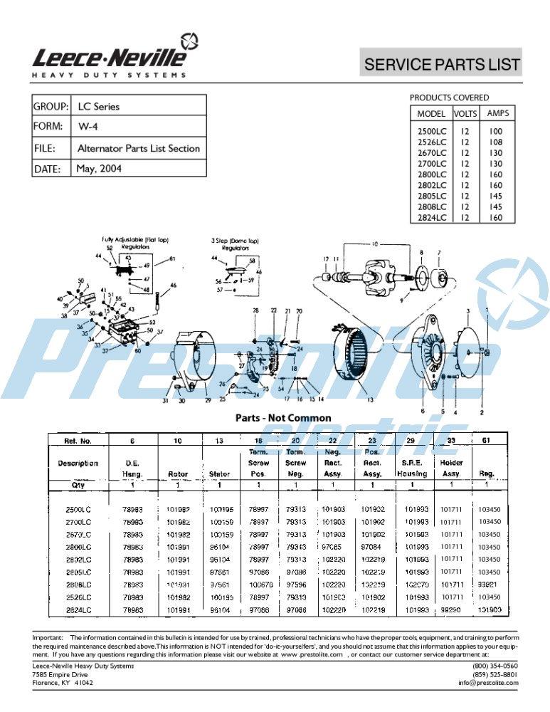 2500LC parts list