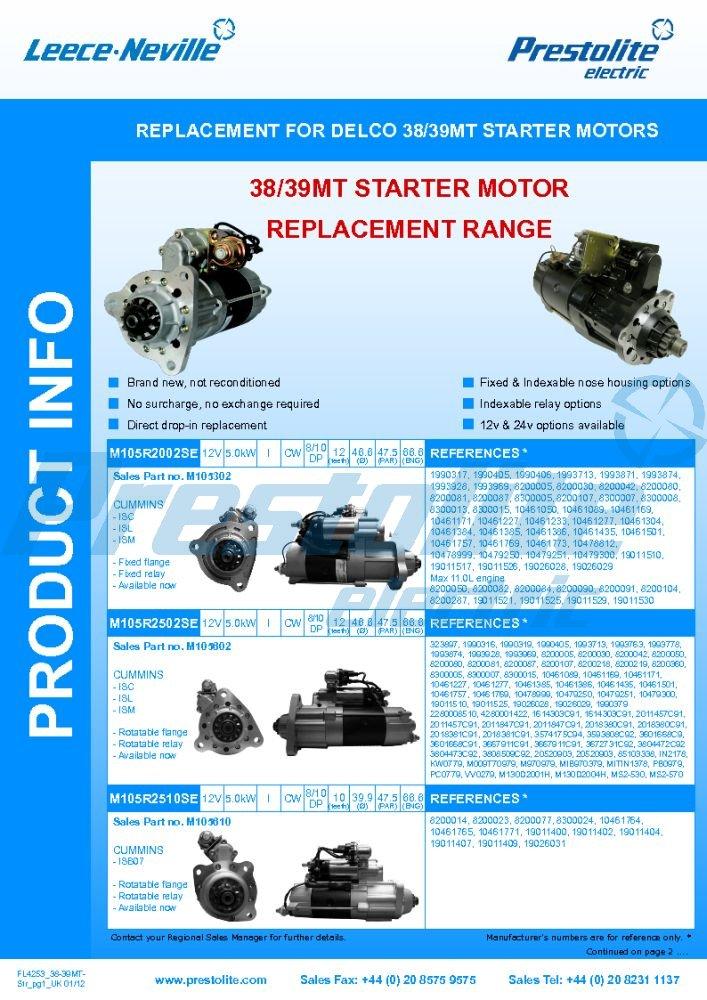38MT / 39MT replacement starter info