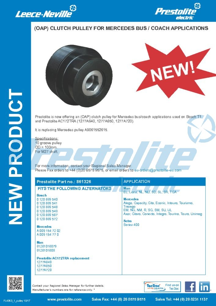 (OAP) Clutch Pulley for Mercedes Bus / Coach Applications