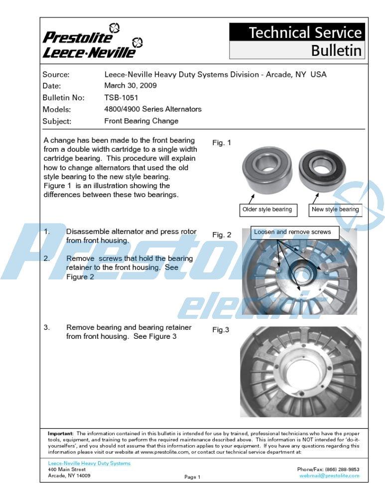 4800 / 4900 Series alternator front bearing change