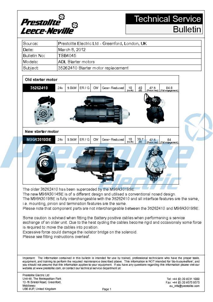 35262410 vs M96R3019SE starter & fitment instructions (ADL)